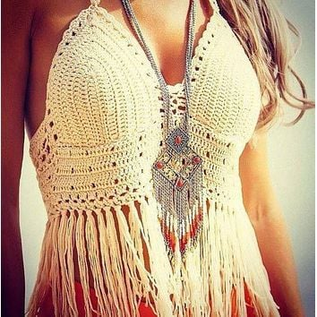 Lace crochet top summer style fringe tops bralette sexy crop top tassel knitted camis fitness women top ganchillo strappy bra