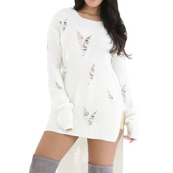 Hi-lo Distress Sweater Top