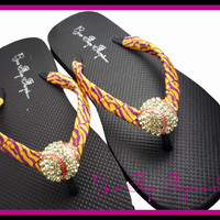 Softball Flip Flops Bling Rhinestone Leopard Zebra Animal Player Mom Girl Baseball Sports Ribbon Flip Flops ribbon and team colors