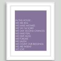 8x10 In This House Home Art Print Family Quote