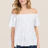 Kiley Off The Shoulder Embroidered Top