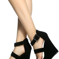 Black Faux Nubuck Multi Strap Wedges @ Cicihot Wedges Shoes Store:Wedge Shoes,Wedge Boots,Wedge Heels,Wedge Sandals,Dress Shoes,Summer Shoes,Spring Shoes,Prom Shoes,Women's Wedge Shoes,Wedge Platforms Shoes,floral wedges