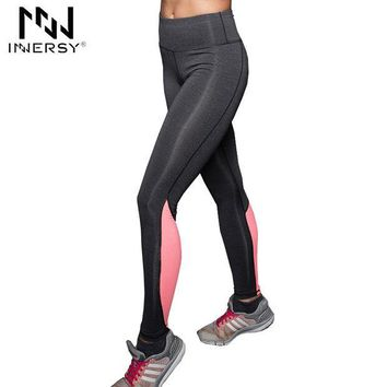 DCCKHN1 Innersy Fashion Women Sport Capris Elastic Patchwork Pants for Running Fitness Dry Quick Workout Leggings pantalones mujer Jzh72