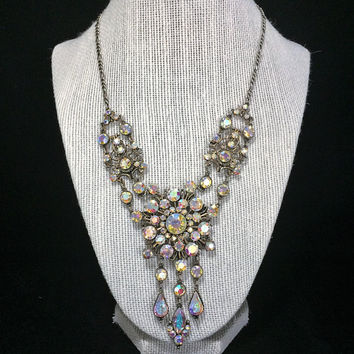 Aurora Borealis Rhinestone Bib Necklace Bridal Jewelry Articulated Links Dangling Stones Vintage Jewelry 518