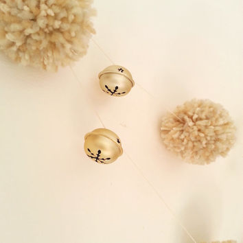 Large Pom Garland, Gold Bells, White Bells, Christmas Garland, Holiday Garland, Ready to Ship