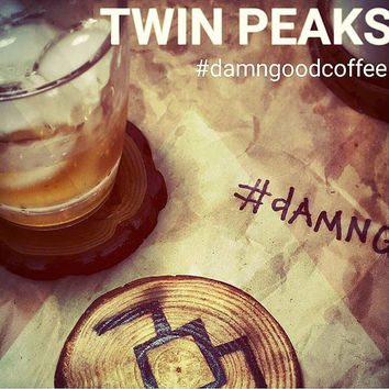 "Twin Peaks ""Log"" Drink Coasters made of Wood (Set of 4)"