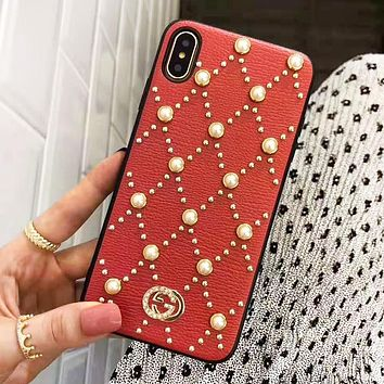 GUCCI New Fashion More Pearl Rivets Protective Cover Phone Case Red