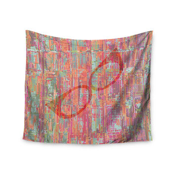 "Love Midge ""Retro Graffiti"" Maroon Vintage Wall Tapestry"