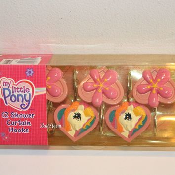 Licensed cool Hasbro My Little Pony & Pink Flowers 12 Bathroom Shower Curtain Hooks Licensed