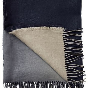 Padua Noir Black Linen Throw Blanket