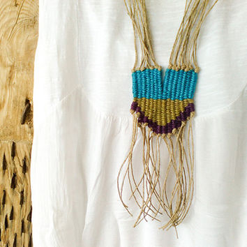 Tribal Woven Textile Necklace, Long Fringed Pendant Necklace, Tapestry Hemp Necklace, Boho Gift women, Original unique gifts, Summer trends