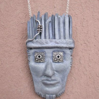 Tribal pendant Weird jewelry Weird stuff Weird gifts Grey face pendant for him or her