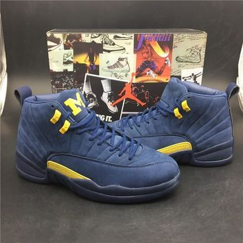 Air Jordan 12 Retro Michigan Basketball Shoe