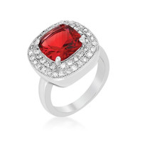 Red Bridal Cocktail Ring, size : 06