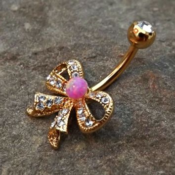 Gold Fire Opal Pink Bow Belly Ring Cute Fits in Navel Body Jewelry Navel Piercing 14ga Fits in Navel