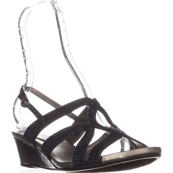 Bandolino Gomeisa Slingback Wedge Sandals, Navy, 9.5 US