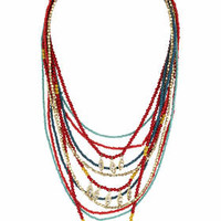 Bead Leaf Mult-irow Necklace - Red