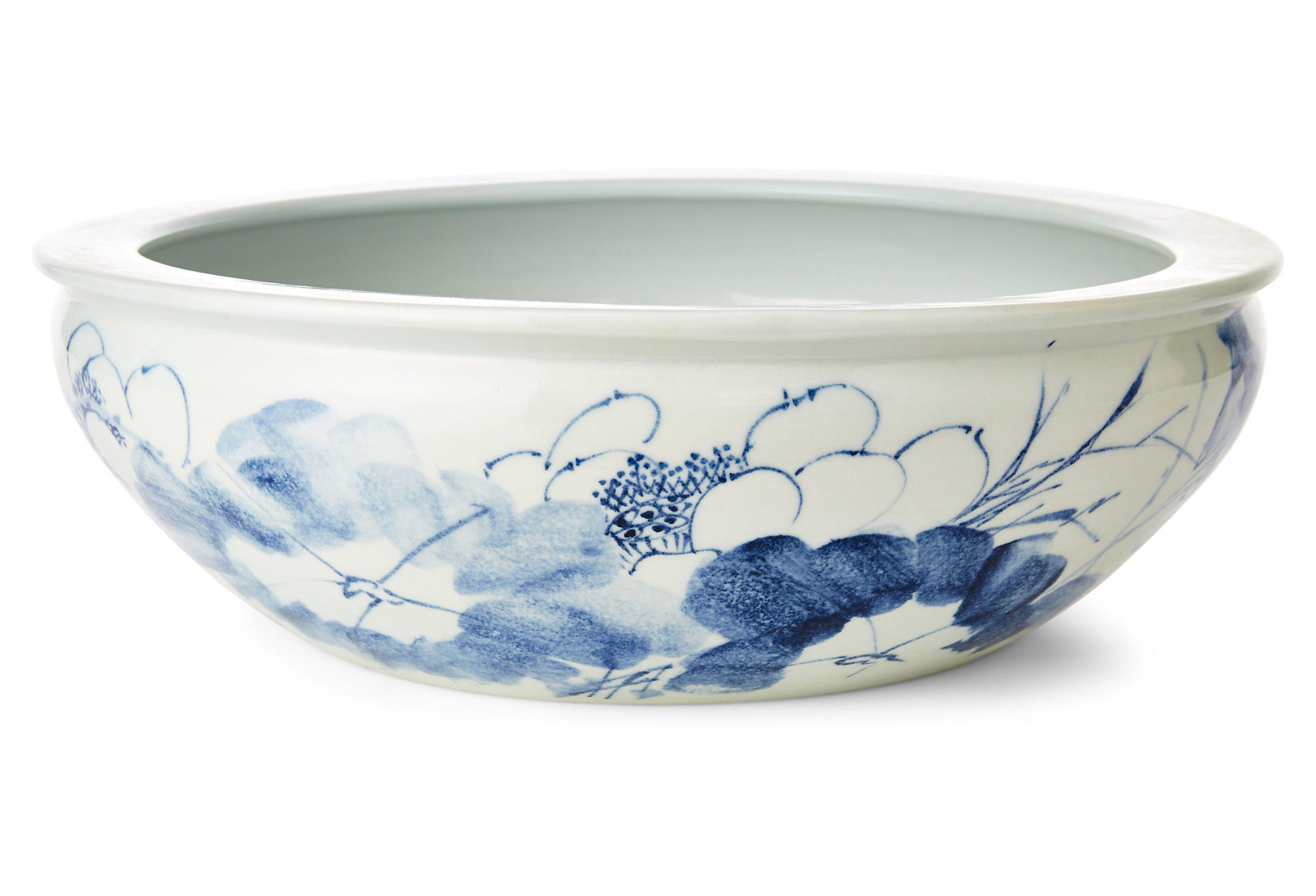 17 floral fish bowl blue white from one kings lane for Decorative fish bowls