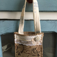 Fall bird burlap doorhanger/ rustic burlap door hanger herb basket