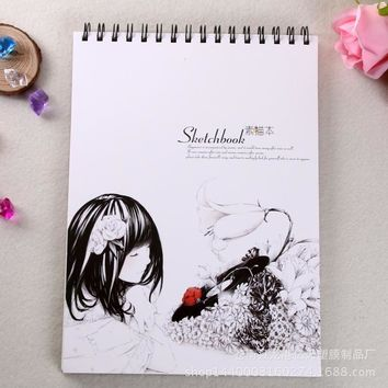 South Korea Retro Breeze Girl Braffiti Sketch of the Painting of the A4 Sketchbooks this Blank Coil