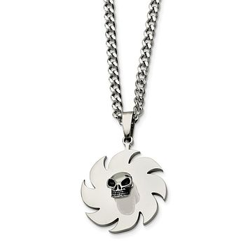 Stainless Steel Saw Blade with Skull Necklace 24in