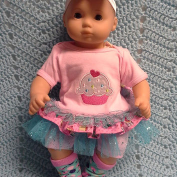 "AMERICAN GIRL Bitty Baby Clothes ""Cheery Cupcake"" (15 inch) doll outfit  dress, leggings, booties socks, and headband blue and pink N7"