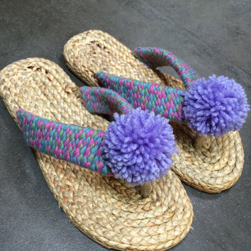 Sandals boho style,Pom Poms sandals, Greek sandals, Gladiator sandals, boho sandals, Beach, Summer