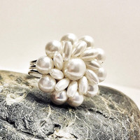 White pearl daisy flower statement ring, adjustable ring made from a recycled 1950s vintage clip earring, chunky ring, beaded flower ring