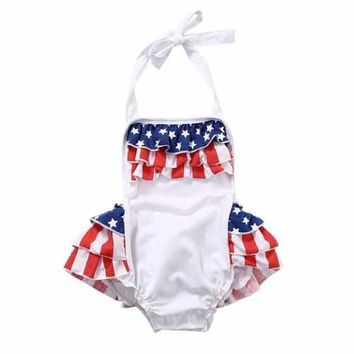 Cute Flag Pattern Baby Girls Rompers