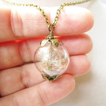 Dandelion Seed Glass Orb Terrarium Necklace, Small Orb In Silver or Bronze, Bridesmaids Gifts, Hipster Jewelry