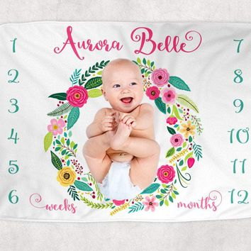 Baby Girl Milestone Blanket, Floral Baby Blanket, Newborn Photo Backdrop, Month Growth Chart Blanket, Personalized Girl Shower Gift Blanket