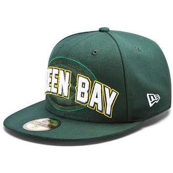 New Era Hat Cap NFL Football Green Bay Packers 7 1/2 59fifty 2012 Draft Fitted