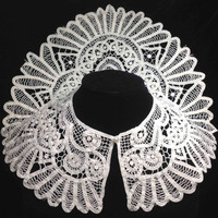 Lace Collar or Fancy Dress Insert Trim with Button Closure -  Light ecru to white Cotton(?) Yoke