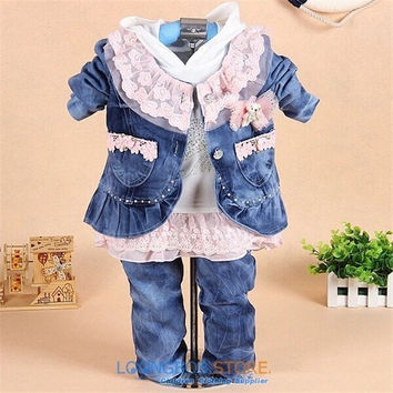 2014 new baby girl set bebe lace 3pcs set children spring autumn denim coat+shirt+Jeans suit kids infants clothing set