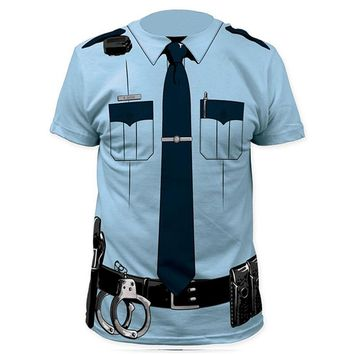 Men Police 3D T Shirt Doctor Gentleman Adult Funny Party Cop Pirate Punpkin Pilot Sailor Santa Claus Halloween Cosplay Top