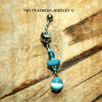 Belly Button Ring - Turquoise Belly Ring - Belly Button Jewelry - Body Jewelry - Dangle Belly Ring - Belly Dancer - Beaded Belly Ring