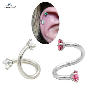 Starbeauty 1.2*8mm S Shape Cartilage Piercing Orelha Cartilagem Stainless Steel Double Holes White Helix Ear Cartilage Earrings