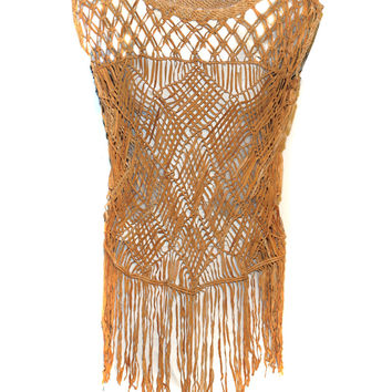 Hand Crafted Leather Macrame Knots Weave Women Top with Fringes