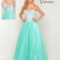 Vienna Prom VJHA079 Beaded Bodice Sweetheart Dress