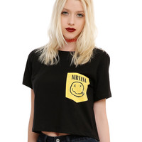 Nirvana Smiley Pocket Crop Top