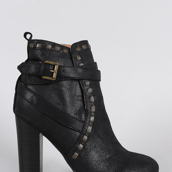 Qupid Distressed Strappy Stitched Thick Heeled Ankle Boots