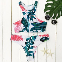 Two Pieces Swimsuit Classic Floral Print Bandage Bikini Set Top
