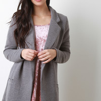 Quilted Knit Pocket Longline Blazer