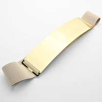 Gold Plate Stretch Belt Gray