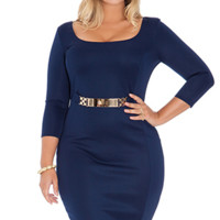 Plus Size Navy Blue  Pencil Dress.