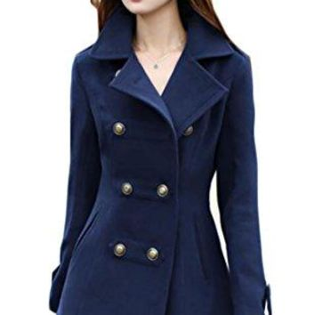 GAGA Women Slim Lapel Double Breasted Wool Blend Overcoat Peacoats