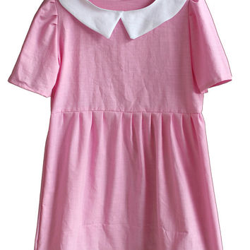 Pastel Pink Smock Dress // Suzy Moonrise Kingdom // White Peterpan Collar