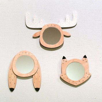 Set of 3 forest animals /  Decorative mirror / Hand Painted  / Wall decor / Wood and acrylic mirror / Unique gift