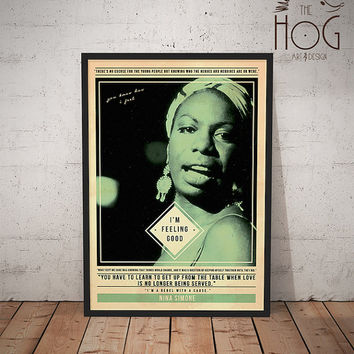 Nina Simone - Quote Retro Poster - Music Legends Series