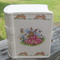 Vintage Bunnykins Bank...Royal Doulton...Book Shaped... Nursery decor...Great Baby Shower Gift